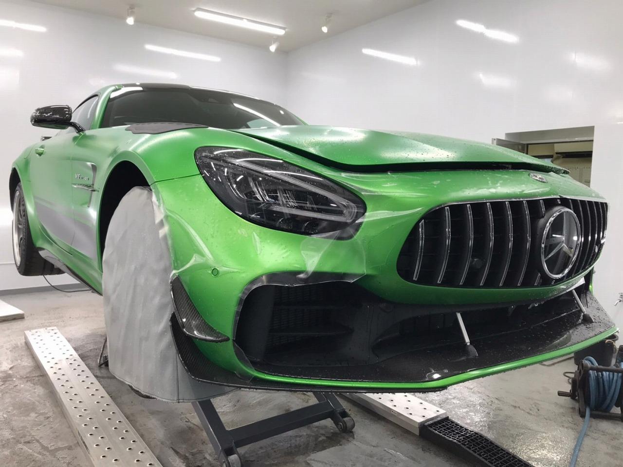 AMG GTR フロントバンパープロテクションフィルム施工